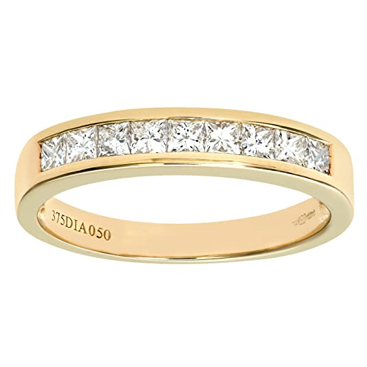 Naava 9ct 0.50ct Princess Cut Diamond Channel Set Half Eternity Ring