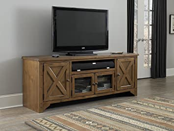 74 in. TV Console Table in Rustic Pine Finish