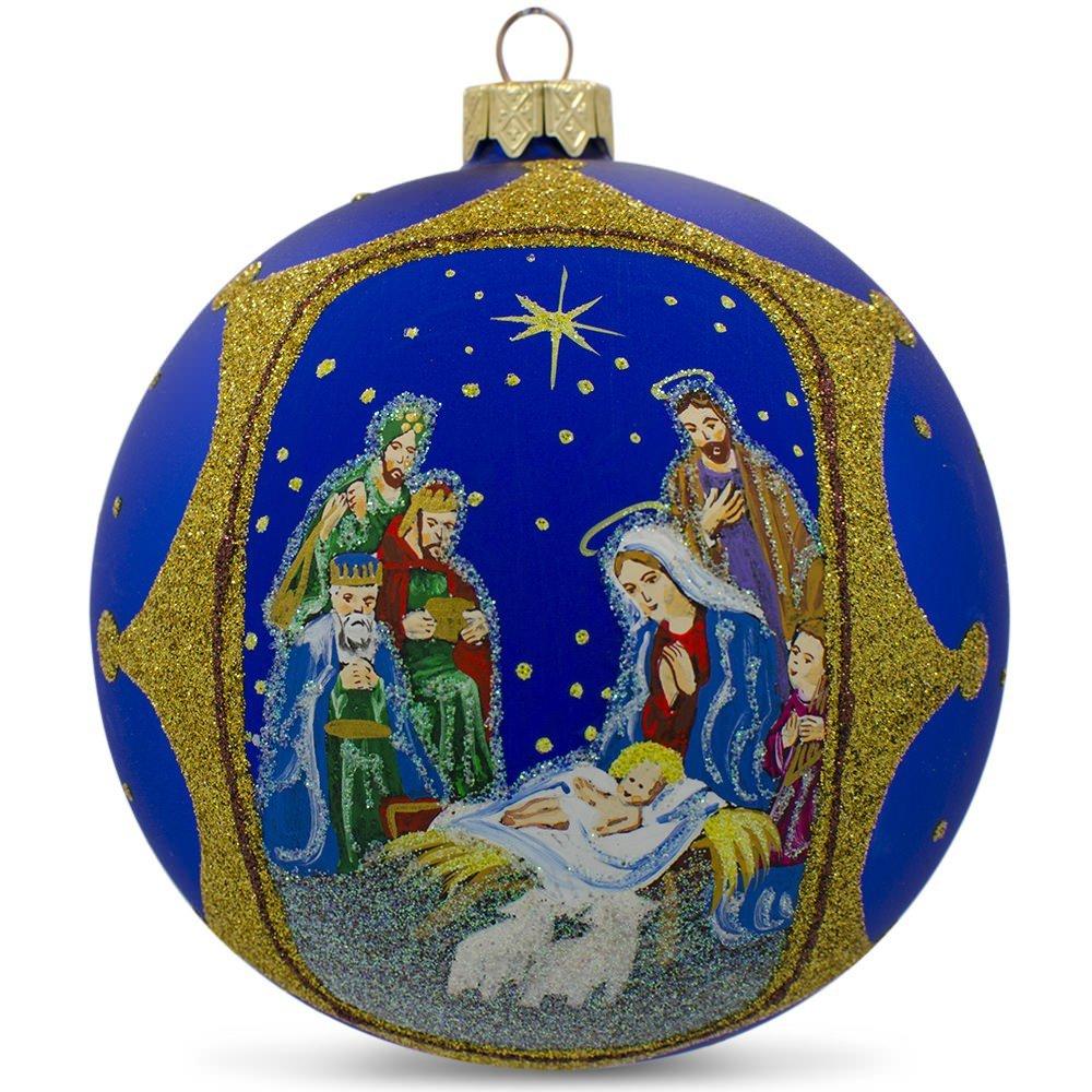 Holy Family With Angel Hair Glass Ornament: Nativity Scene Christmas Ball Ornaments