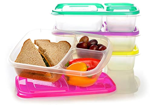 "EasyLunchboxes 3-compartment Bento Lunch Box Containers ""Brights"" (Set of 4). BPA-free. Easy-open Lids (Not Leakproof). For Kids and Adults. Work or School Lunches"