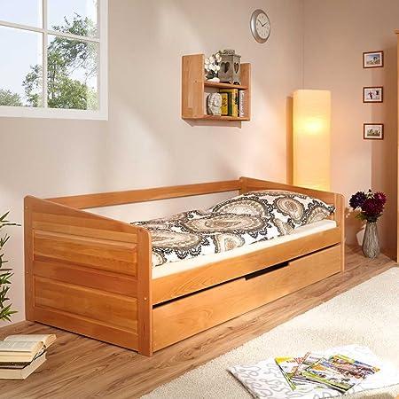 Bett aus Buche Massivholz mit Ausziehbett Pharao24