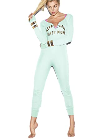 Victoria's Secret PINK Onesie Pajamas Medium Aqua Bling Sleep Less ...