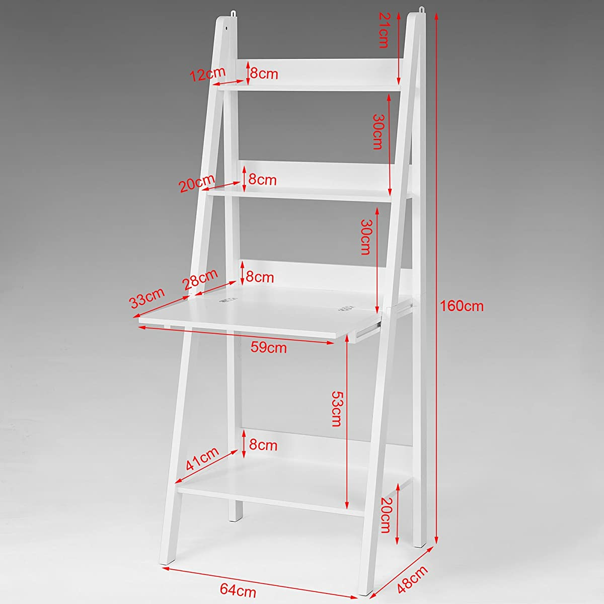 Haotian Storage Display Shelving Ladder Shelf Bookcase with Desk/Memo Board and 3 Shelves, FRG115-W,White