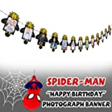 AERZETIX Spiderman Birthday Decorations Black & Gold Happy Birthday Photo Banner for Newborn Baby / Children Photograph Picture Birthday Party Decoration (Color: Spiderman-hbday)