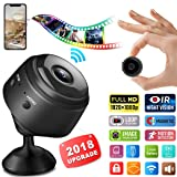 Mini Hidden Spy Camera, 1080P HD WiFi Hidden Camera Wireless Security Cameras/Nanny Cam/Surveillance Camera with Video Recorder Motion Detection Night Vision for Home Car Office iPhone (Black) (Color: black)