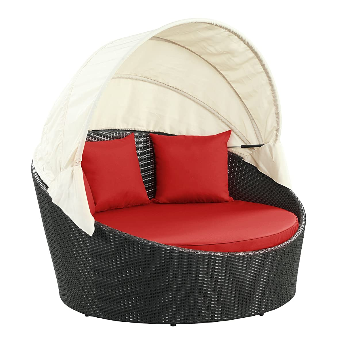 Modway Siesta Outdoor Wicker Patio Espresso Canopy Bed with Red Cushions