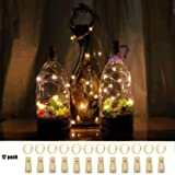 12 Pack 10 LED DIY Bottle Lights with Cork,Battery Operated Cork Shape Fairy Waterproof Copper Silver Wire String Lights for DIY Party Garden Patio Wedding Table Indoor&Outdoor Decor(Warm White) (Color: Warm White)