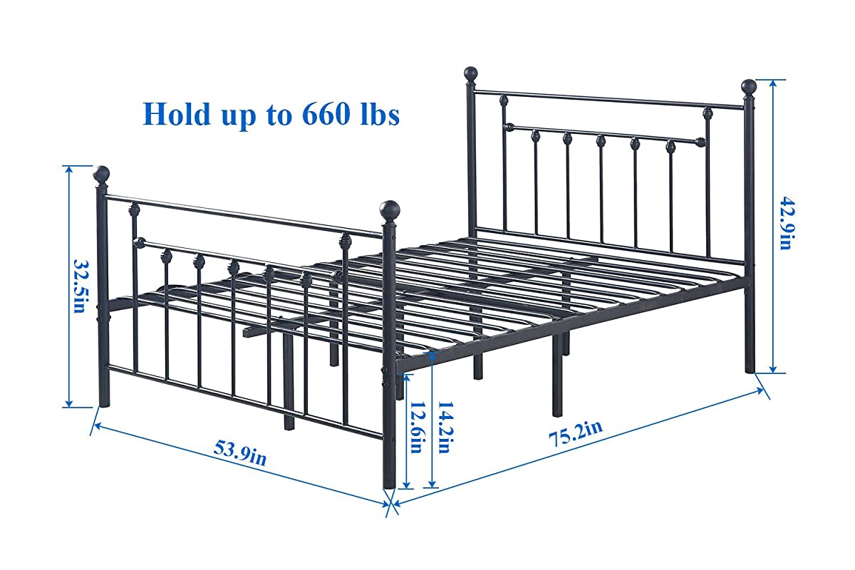 VECELO Premium Full Size Bed Frame, Metal Platform Mattress Foundation/Box Spring Replacement with Headboard Victorian Style