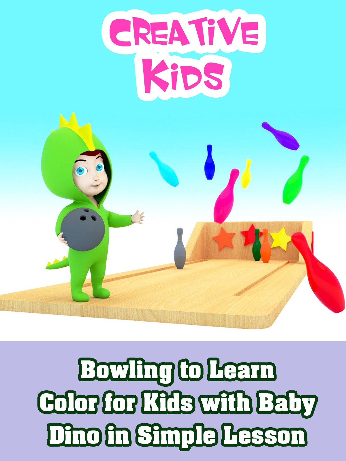 Bowling to Learn Color for Kids with Baby Dino in Simple Lesson