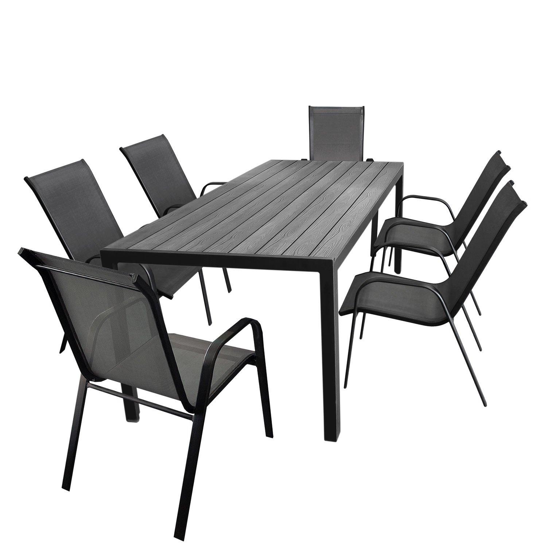 7tlg. Gartengarnitur Aluminium Gartentisch, Tischplatte Polywood, 205x90cm + 6x Stapelstuhl, Textilenbespannung in Grau - Gartenmöbel Set Sitzgarnitur Sitzgruppe