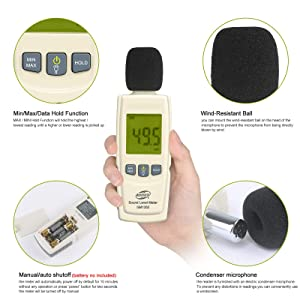 Decibel Meter Sound Meter 30-130 dB Noise Meter Max/Min/Data Hold Sound Level Reader LCD Display and Backlight Digital Sound Level Meter Flashlight Audio Noise Volume Measuring Monitoring Instrument