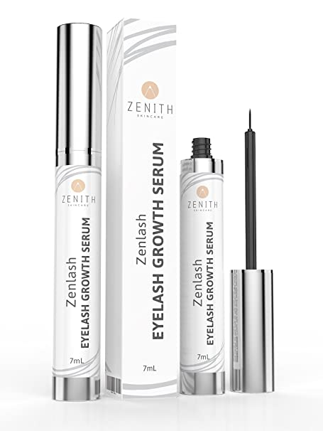 Biotin Infused Zenlash Eyelash Growth Serum, Clinically Proven To Grow Visibly Thicker, Longer, Stronger, Fuller, Lashes And Brows In Weeks, Large 7ml Bottle Plus Lifetime Money Back Guarantee