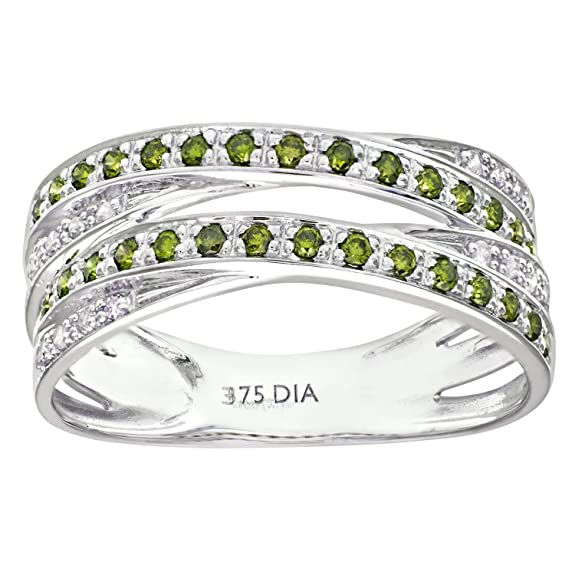 Naava 9ct White Gold Green Diamond Multi Row Crossover Ring