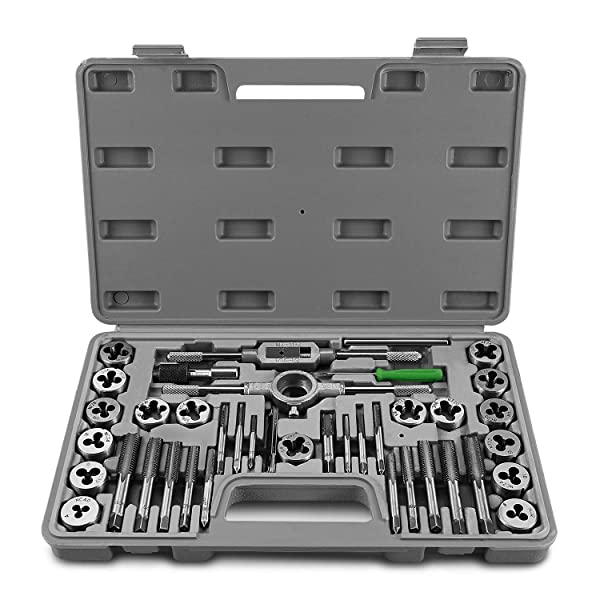 Flexzion Tap and Die Set Tool Kit Metric & SAE Sizes 40-Piece with Storage Case & Gauge, Esential Threading and Rethreading Tool Kit & Accessories, Drill Taps for Metal Thread Die Cutting Repair