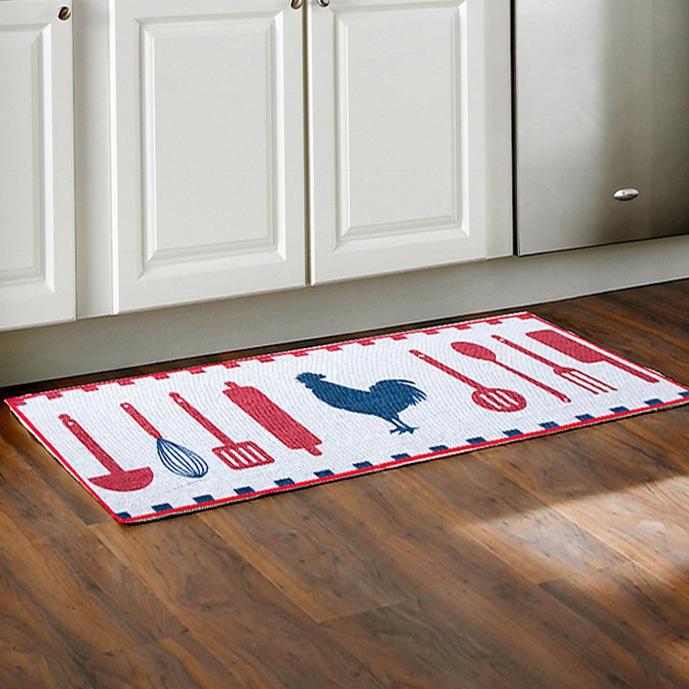 Wolala Home Cute Cartoon Rooster Spoon Prints Kitchen Rug Non-slip Absorbent Doormat Floor Mat 2Pcs Set (15x20+15x40, White)