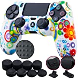 9CDeer 1 Piece of Silicone Studded Water Transfer Protective Sleeve Case Cover Skin + 8 Thumb Grips Analog Caps + 2 dust proof plugs for PS4/Slim/Pro Dualshock 4 Controller, Flowers (Color: Flowers, Tamaño: printing)