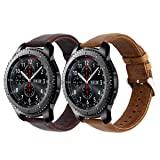 Gear S3 Bands, KADES Genuine Leather Replacement Strap Compatible for Samsung Galaxy Watch 46mm/ TicWatch Pro/Gear S3 Frontier/Gear s3 Classic/Amazfit Stratos Smart Watch – Large, Brown&Coffee (Color: Large/ XL, Brown + Coffee)