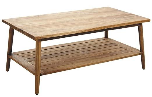 Table basse en bois de teck naturel - Dim : L 110 x P 61 x H 46 cm -PEGANE-