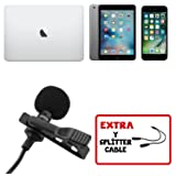 Professional Lavalier Lapel Microphone with Easy Clip On System Omnidirectional Mini Mic for Apple iPhone Android/Youtube, Podcast, Interview, Video Recording-Free Y Connector Cable