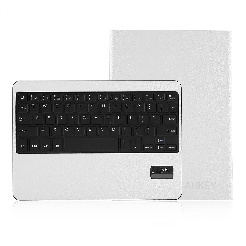 Aukey iPad Air Bluetooth Keyboard Case Wireless Bluetooth Keyboard Case Cover Stand for iPad Air, Ultra Slim Folio Leather Case, Detachable Bluetooth Keyboard (KM-B4 White)