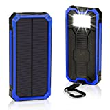 Solar Chargers 30,000mAh, Solarprous Dual USB Solar Battery Charger External Battery Pack Phone Charger Power Bank with Flashlight for Smartphones Tablet Camera (Blue) (Color: Blue)