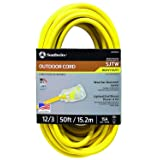 Southwire 2588SW0002 Outdoor Extension Cord- 12/3 American Made SJTW Heavy Duty 3 Prong Extension Cord- Great for Commercial Use, Gardening, and Major Appliances ( 50 Foot- Yellow) (Color: Yellow, Tamaño: 50 ft)