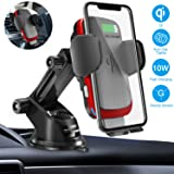 Wireless Car Charger Mount, Cshidworld Auto Clamping 10W/7.5W Qi Fast Charging Car Mount, Windshield Dashboard Air Vent Phone Holder Compatible with iPhone Xs Max XR 8 Plus, Samsung S10 S9 S8 (Red) (Color: Red)