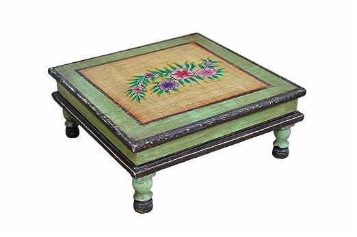 De la India de madera clásica de bajo la calma de asiento de taburete de luz de pintada de colour verde