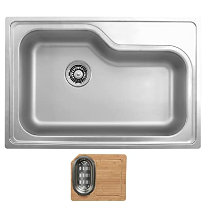 Ukinox DXT840.C Modern Drop in Single Bowl Stainless Steel Kitchen Sink with Cutting Board