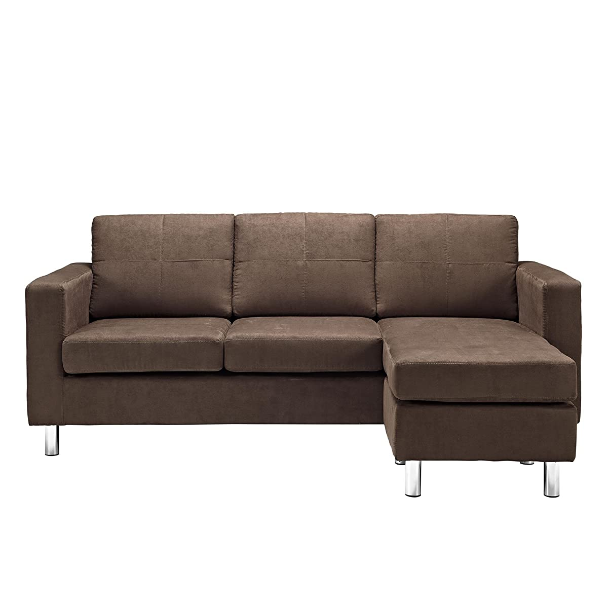 Dorel Living Small Spaces Configurable Sectional Sofa, Brown