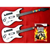 Nintendo Wii/Wii-U Guitar Hero World Tour Game + 2 Wireless GUITAR Controllers Double Bundle Set Kit