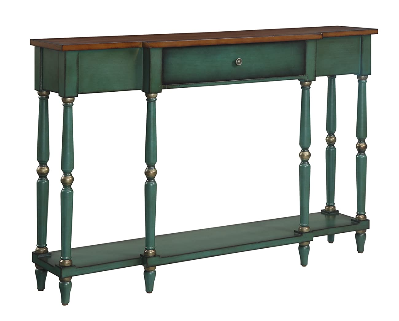 Convenience Concepts Wyoming Two Tone Antique Console Table 0