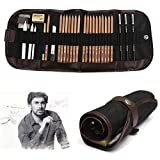 KOBWA Professional Sketch Drawing Kit, 18 Pieces Art Set of Charcoal Sketching Pencils, Erasers, Paper Pens, Pencil Extenter, Craft Knief & Canvas Pouch for Kids Adults Artists