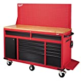 Milwaukee 61 in. 11-Drawer/1-Door 22 in. D Mobile Workbench with Sliding Pegboard Back Wall in Red/Black MWTC6111BC1M (Color: black)