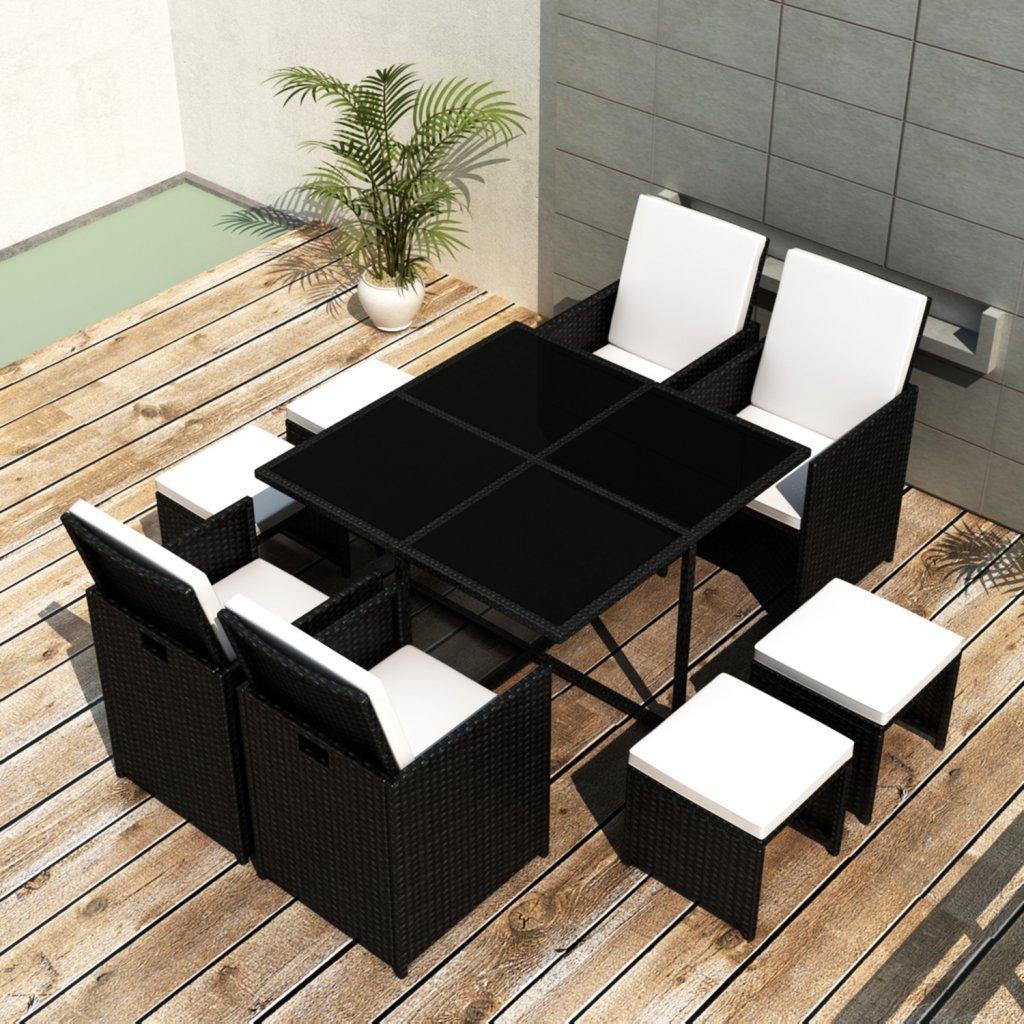 vidaXL Poly Rattan Gartenmöbel Essgruppe 1 Tisch + 4 Stühle Hocker