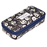 BTSKY Floral Pencil Case with Compartments -High Capacity Double Layers Pencil Pouch Stationery Organizer Multifunction Cosmetic Makeup Bag for Girls, Perfect Holder for Pencils and Pens(White Flower) (Color: White Flower)