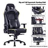 KILLABEE Big and Tall 400lb Memory Foam Gaming Chair - Adjustable Tilt, Back Angle and 3D Arms Ergonomic High-Back Leather Racing Executive Computer Desk Office Chair Metal Base, Grey (Color: Grey-metal Base)