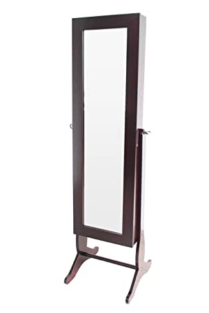 Home to Office Solutions Welcome Home Cheval Mirror Jewelry Armoire, 59-Inch, Walnut