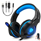 Gaming Headset for Xbox One PS4 PC, Gintenco Foldable Noise Cancelling Ear Headphones with Microphone and LED Lights Surround Stereo Volume Control Headsets for Laptop Mac Nintendo Switch Game (Blue) (Color: blue)
