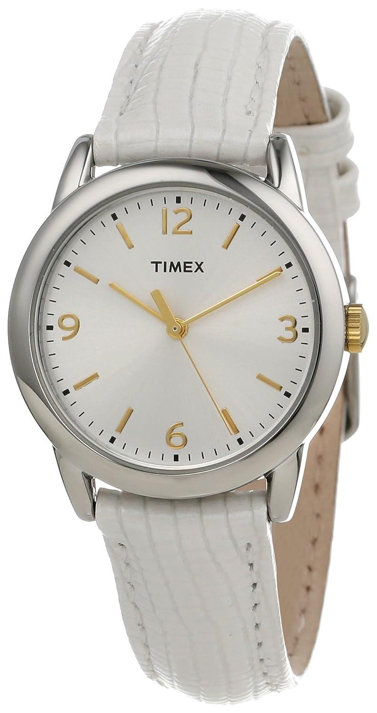 Женские наручные часы Timex Women's T2P1202M White Metallic Lizard Patterned Leather Strap Watch
