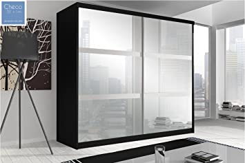 MODERN SLIDING DOOR WARDROBE 7 ft 8 (233cm) 'REFLECTION' MULTI F10 BLACK WITH SIX MIRRORS
