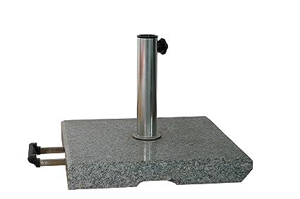 Stabielo®-Granito Soporte-500x 500-Rectangular-55Kilo-rollbarer con mango de de Petre para mástiles con diámetro de 25-55mm-peso: 55&nb