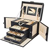 Homde Jewelry Box Necklace Ring Storage Organizer Synthetic Leather Large Jewel Cabinet Gift Case (Black) (Color: Black)