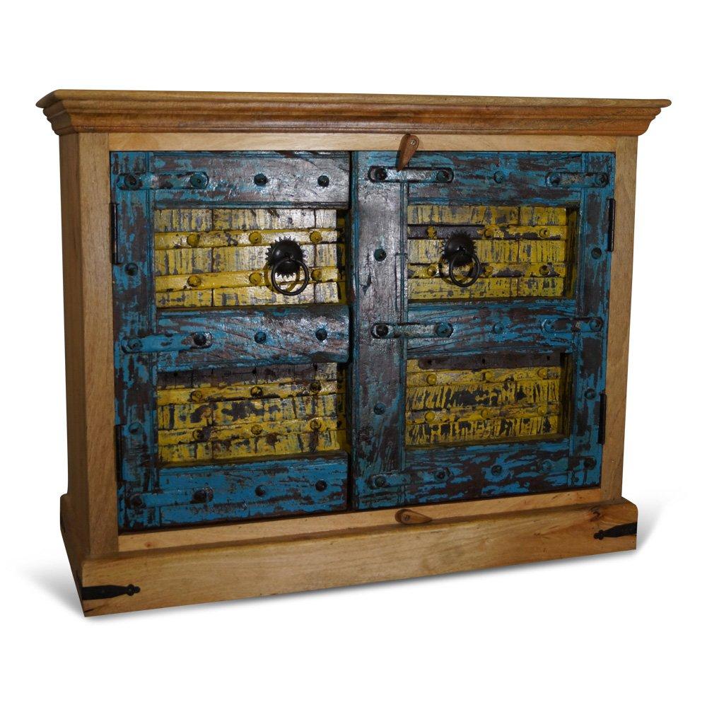 Kommode Bala, Old Door, antik Blau, Gelb