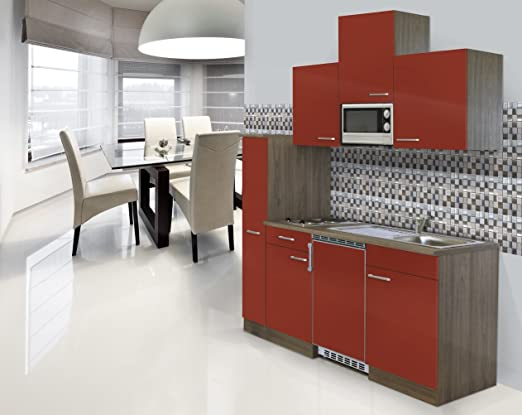 Respekta Kitchen Chef Block Fitted Mini Single 180 cm Oak York Replica Red