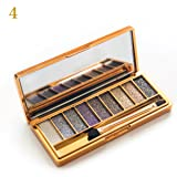 Sporthway Women 9 Colors Waterproof Make UP Glitter Eyeshadow Palette with Brush (Color 4) (Color: Color 4, Tamaño: Onesize)