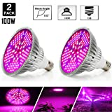 [Pack of 2]100W Led Plant Grow Light Bulb, Full Spectrum 150 LEDs Indoor Plants Growing Light Bulb Lamp for Vegetables Greenhouse and Hydroponic, E26 E27 Base grow light Bulbs, AC 85~265V (Color: 100W 2Pack)