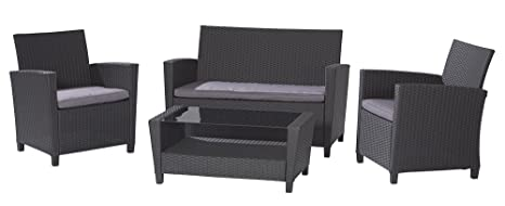 Cosco Dorel Industries Outdoor 4-Piece Resin Wicker Patio Set, Black with Grey Cushions