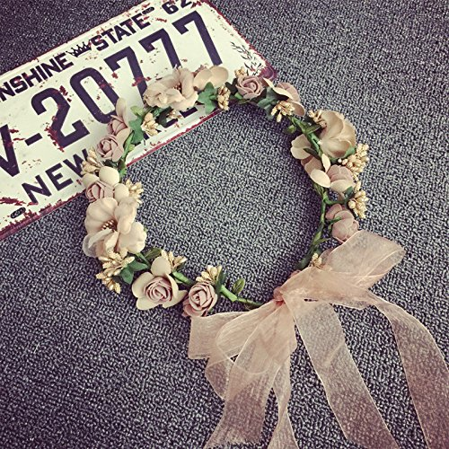 Meiliy Bridal Flower Garland Headband Flower Crown Hair Wreath Halo with Adjustable Ribbon for Wedding Festivals