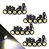 YITAMOTOR 20x Eagle Eye 23mm Motor Car 9W LED Daytime Running DRL Tail Backup White Bulbs (Color: White, Tamaño: 23mm)